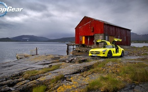 Picture the sky, landscape, mountains, lake, stones, yellow, house, Mercedes, SLS