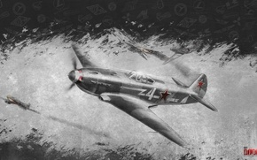 Picture the sky, war, fighter, Art, Soviet, piston, single-engine, War Thunder, The Yak-3, Yakovlev, hibikirus