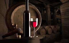 Picture table, wine, glass, bottle, dust, tube, shelves, kegs