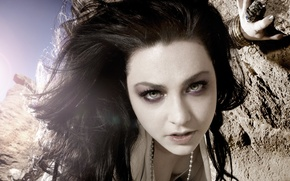 Picture look, rocks, Evanescence, Amy Lee