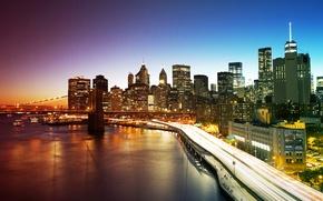 Wallpaper Manhattan, skyscrapers, bridge, New York City, home, New York, lights, the evening, promenade, USA