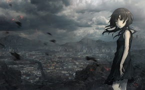 Wallpaper mountains, art, home, anime, ruins, the city, girl, seafh, the sky, clouds