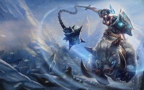 Picture girl, snow, art, shield, boar, League of Legends, knock sausage, sejuani