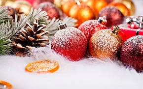 Picture winter, snow, holiday, balls, new year, Christmas, fruit, christmas, new year, bumps