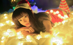 Picture look, girl, lights, holiday, Asian, garland