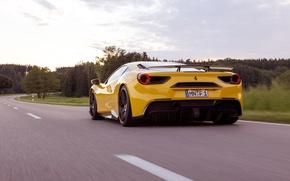 Picture auto, yellow, Ferrari, supercar, Ferrari, back, Rosso, Novitec, 488 GTB