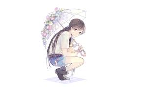 Picture shorts, umbrella, rabbit, girl, white background, boots, sitting, long hair, art, squat, bindweed, Seuga
