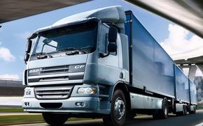 Picture bridge, track, truck, DAF, gray, DAF, trailer