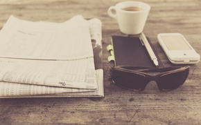 Picture coffee, glasses, handle, Cup, newspaper, Notepad, press, photo, photographer, smartphone, markus spiske