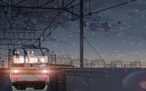 Wallpaper Makoto Xingkai, 5 centimeters per second, snow, train