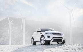 Picture white, jeep, windmills, range Rover, SUV, range rover evoque