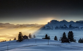 Picture winter, the sky, the sun, stars, snow, mountains, night, the evening, Switzerland, Alps