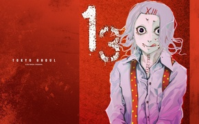 Picture language, eyes, smile, monster, shirt, Tokyo Ghoul, Juuzou Suzuya