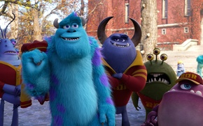 Picture cartoon, friends, students, Academy of monsters, Monsters University, Inc., Monsters Inc., Monsters University, Monsters, campus