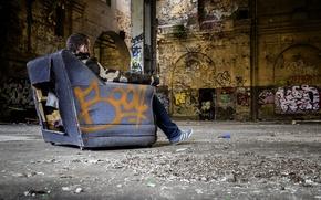 Picture garbage, graffiti, chair, dirt, hangar, devastation, male, mucus, contemplation
