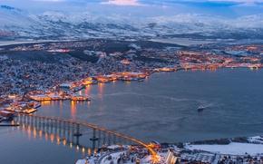 Picture winter, landscape, bridge, nature, the city, river, photo, home, Norway, Tromso