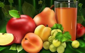 Wallpaper Apple, naturmort, fruit, pear, juice, glass, grapes