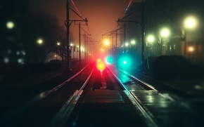 Picture night, fog, road, rails, The city, bokeh