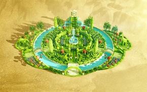 Picture desert, oasis, desktopography, digital art, oasis, beautiful pictures