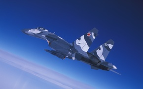 Picture the sky, flight, fighter, cabin, Su-27