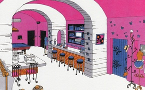 Picture chairs, interior, door, dummy, pool table, hanger, bar, Atelier, paradise kiss, by ai yazawa