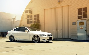 Picture BMW, white, E92, 328i, MRR Wheels, frontside