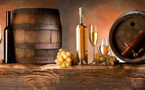 Picture bunches, white, glasses, grapes, barrels, wine