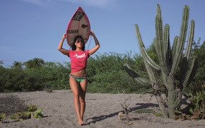 Picture beach, girl, Board, surfer