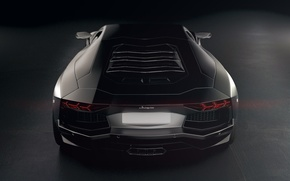 Picture Lamborghini, Light, Power, Black, LP700-4, Aventador, View, Supercar, Rear, Top