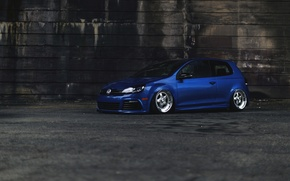 Picture car, blue, Volkswagen, tuning, Golf R, stance, MK6