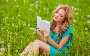 Picture field, girl, nature, dress, freckles, book, brown hair, dandelions, curls