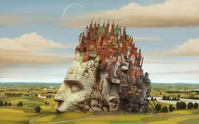 Picture the city, new Babylon, head