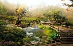 Picture garden, bridges, speeches