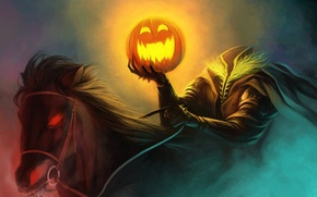 Wallpaper horse, art, rider, Halloween, pumpkin, without a head, humor, burning eyes