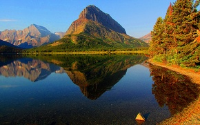 Picture autumn, forest, the sky, mountains, lake, Montana, USA, glacier national park