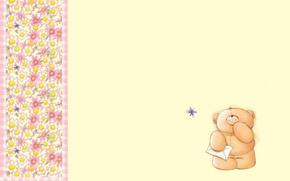 Picture letter, flowers, mood, butterfly, art, bear, children's, Forever Friends Deckchair bear