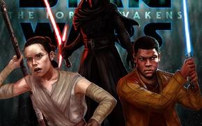 Picture Swords, Finn, Kylo Ren, Rey, Star wars: the Force awakens