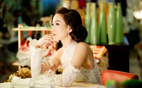 Picture girl, table, earrings, dress, hairstyle, gloves, Asian, sitting