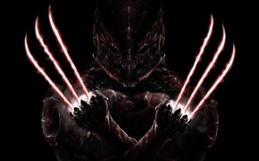 Picture fiction, mask, art, claws, armor, Logan, black background, Wolverine