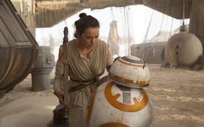 Picture desert, robot, Star Wars, Star Wars, The Force Awakens, Daisy Ridley, Daisy Ridley, The Force …