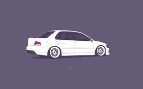 Wallpaper Mitsubishi, Lancer, Evolution 9, Minimalistic