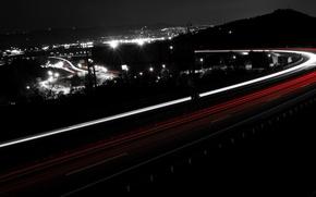Picture road, night, black