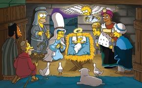 Picture The simpsons, Christmas, Homer, Bart, Lisa, The Simpsons, Marge, Dr. Hilbert, Professor, Principal Skinner, Carl, …