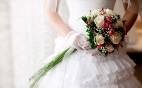 Picture white, roses, bouquet, dress, wedding, roses, Wedding