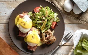 Picture eggs, vegetables, bacon, salad, poached