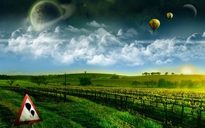 Picture greens, dream, space, flight, here wishes come true, balloons