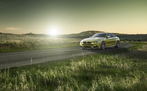 Picture yellow, roadside, road, f82, bmw, BMW, yellow, grass