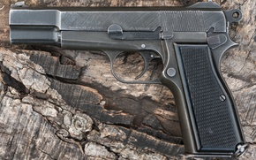 Picture gun, weapons, background, self-loading, Browning Hi-Power