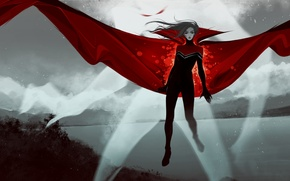 Wallpaper red, cloak, MAG, the wind, woman, costume, hair