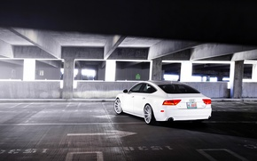 Picture Audi, Audi, white, Parking, white, wheels, vossen, rearside